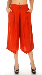Wholesale A02 Cotton blend cropped flared leg pants Orange