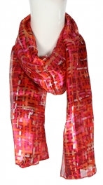 Wholesale G06B Abstract Pattern Satin Scarf BLML