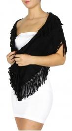 Wholesale S16 Knit Fringe Infinity Scarf BK