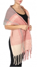 Wholesale Y22A Long wool feel fringe scarf Multi 1