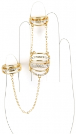 Wholesale L30 Three chained faux crystal rings G