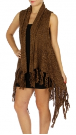 Wholesale P04C Knitted Vest w/Tassels BLACK