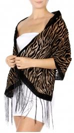 wholesale G46F Velvet Zebra Print Burnout Scarf Black