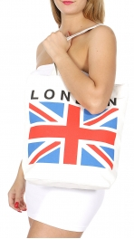 Wholesale P01B Union Jack print tote bag