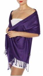 wholesale D45 Silky Solid Wedding Pashmina 42 Eggplant