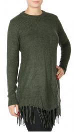 Wholesale T11C Tassel-Hem long sweater Green