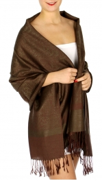 wholesale D33 Whole Jacquard Pashmina 59 Green Brown