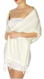 wholesale D45 Silky Solid Wedding Pashmina 03 Ivory