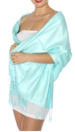 wholesale D45 Silky Solid Wedding Pashmina 26 Aqua