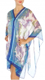 Wholesale I31E Multi Wear Paisley Poncho BL