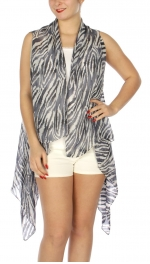 Wholesale J03D Wild zebra print vest BK