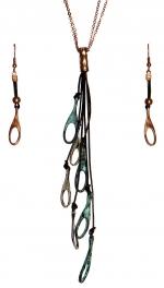 Wholesale WA00 Cutout teardrop pieces w/ leather strings necklace set MT
