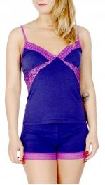 Wholesale N06B Cotton blend lace insert camisole & shorts set Black
