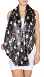 wholesale D07 Winter wonderland infinity/satin stripe scarf BK