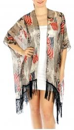 Wholesale H37E American flag kimono cover up FL