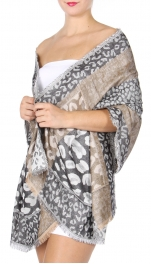 wholesale D27 Section Leopard Jacquard Shawl 01