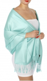 wholesale D45 Silky Solid Wedding Pashmina 21 L Cyan