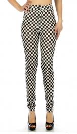 wholesale C18 Black White check pockets button pants S