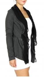 Wholesale N14C Front Chiffon Knit Jacket Charcoal