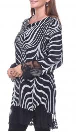Wholesale H16A Lace trim zebra top BLACK
