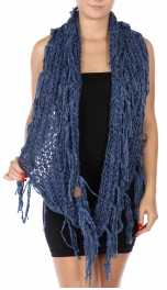 Wholesale A40 C.C Chenille infinity scarf with tassel Dark Denim