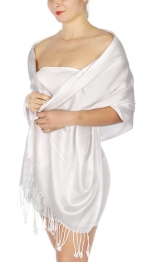 wholesale D36 Solid HD Wedding Pashmina 02 White