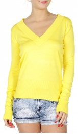 wholesale H16 Long sleeve V neck sweater Yellow