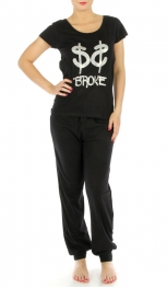 G40 Cotton BROKE wholesale pajaman set Black