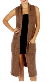 Wholesale O00C Long Furry Vest w/ Pockets KHA