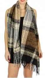 Wholesale T68A Multi-texture london checker pattern scarf BK