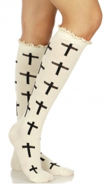 Wholesale S65C Cross cotton knee high socks w/ lace WJ