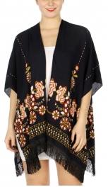 Wholesale H03D Floral embroidery short ruana w/ fringe NV