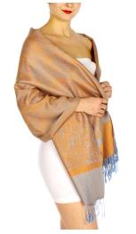 wholesale D33 Whole Jacquard Pashmina 54 Blue Orange