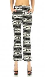 Wholesale B00 Pattern striped long pants Black