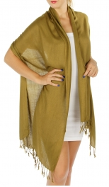 wholesale F09 Solid Pashmina Shawl Khaki fashionunic