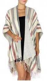 wholesale T68A Light stripe woven ruana MLT