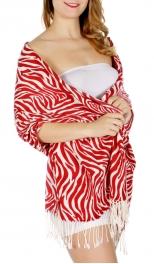 Wholesale D25 Print pashmina Zebra Red (SZP012-D-RD)