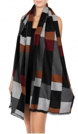 Wholesale R81C Cotton blend colorblock shawl BK/MT