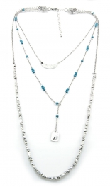 Wholesale M12D Three tier bead and metal necklace SB