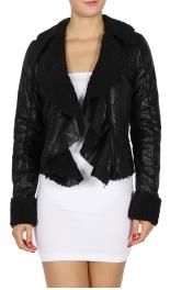 Wholesale N14E Cropped Faux Shearling Jacket BLACK