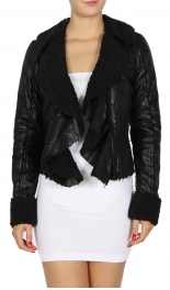 Wholesale N14E Cropped Faux Shearling Jacket BLACK