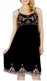 Wholesale J05C Spaghetti strap tribal embroidery short dress Black
