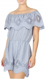 Wholesale S14C Cotton off-the-shoulder ruffle romper Blue Fog
