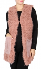 Wholesale R71S Faux fur vest with pockets