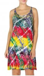 Wholesale P02A Spaghetti Strap Tie Dye Short Dress RD