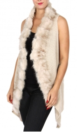 Wholesale Y24A Faux fur trim woven vest GRY