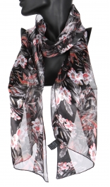 Wholesale WA00 Autumn satin stripe scarf BK