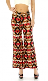 Wholesale C18 Abstract cotton blend pants Fuchsia/Camel