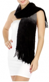 wholesale Ombre knit scarf Black