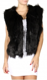 Wholesale S55B Collarless faux fur vest White